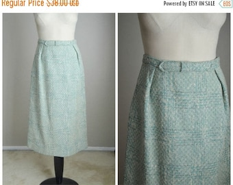 "Summer SALE - 20% off - vintage 50s sage green wool tweed wiggle midi skirt -- womens small -- 26"" waist 40"" hips"