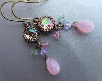 Pastel rhinestone bead earrings, Austrian crystal set stone, antiqued brass, pink teardrop, crystal dangles, Spring colors bead jewelry