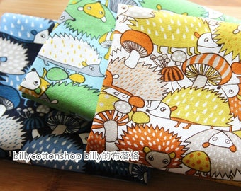 billycottonshop - m334_55 - Hedgehog fabrics - cotton linen fabrics ( 3 color to choose) in Half Yard