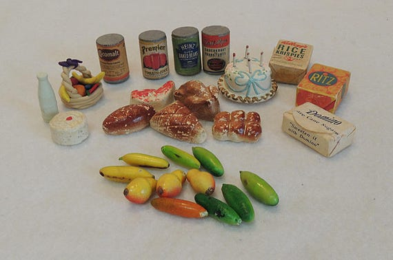 27 Piece Lot.. Vintage Miniature Dollhouse Grocery Pantry Food