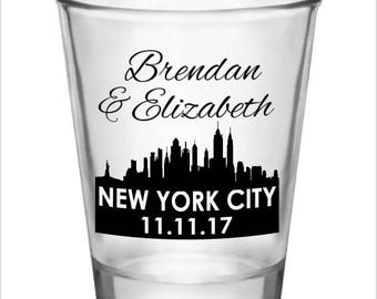 Wedding Shot Glasses New York City Skyline Destination Wedding Custom Personalized Wedding Favors Ideas 2017 2018 Shot Glass