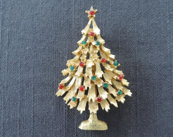 2 Vintage Weiss Christmas Tree Pin Brooch Holiday Jewelry Pin Lapel Pin Coat Pin Womens Vintage Tree Pin Rhinestone Pin
