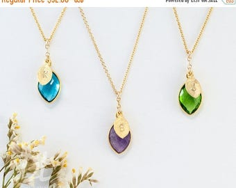 FLASH SALE - Customized Birthstone Necklace, Hand Stamped Initial Necklace, Dainty Necklace, Bridesmaid Gift, Cascade Necklace, personalized