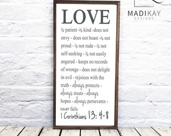 """Love is patient, love is kind, 1 Corinthians 13 - Christian Bible Verse-rustic wedding sign - 12 x 24 wood sign with 1"""" Wood Frame"""