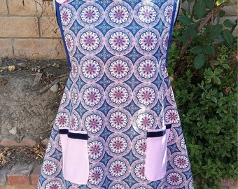 Womens apron-pefect gift for that special lady, pretty pink and blue pattern.