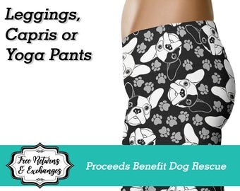 French Bulldog Leggings / Frenchie Yoga Leggings / Pants / Printed Leggings / Womens Clothing / Dog Mom / Workout Leggings / Gift for Her
