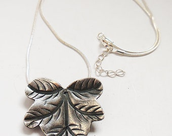 Thai Silver Leaf Pendant, Leaf Necklace, Gifts for Her, Silver Necklace
