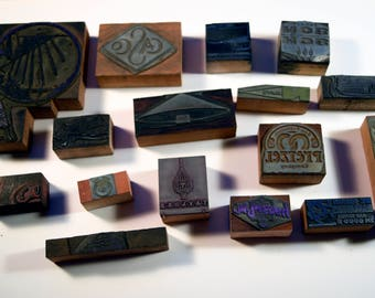Vintage Letterpress Printers Block - Lot of Ornaments and Matchbooks 15pc