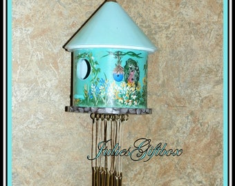 Large Birdhouse Wind Chime-Hand Painted & Hand Strung-Goldtone Chimes-Indoor/Outdoor-Ready To Ship-Special Gift Tags Available (BHWC-0023)