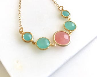 Unique Jewel Necklace with Shades of Coral Pink, Mint and Aqua in Gold.  Unique Fashion Necklace.  Bridal Jewel Necklace.