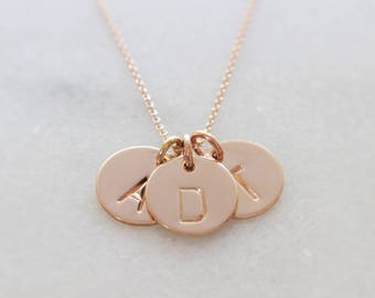 """Three Rose Gold-Filled 1/2"""" Hand Stamped Initial Pendant Necklace - Gift for Her, Mom, Mother, Mommy, Children's Initials, BFF Initials"""