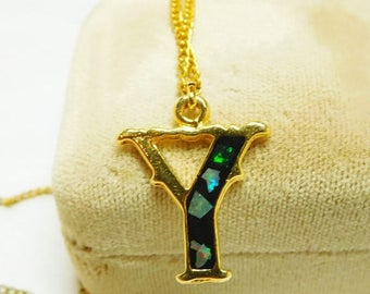 SALE Y pendant necklace Resin and Abalone Vintage Initial pendant necklace