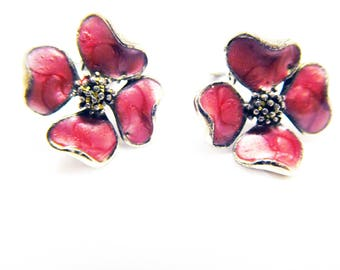 Apple Blossom Earrings Rose pink luster swirl enamel Vintage Flowers Summer