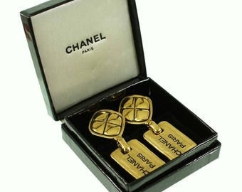 CHANEl  18kt Gold-Plated  Dog Tag Drop  Earrings
