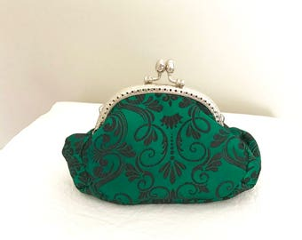 Green and black scroll brocade fabric coin purse with chain