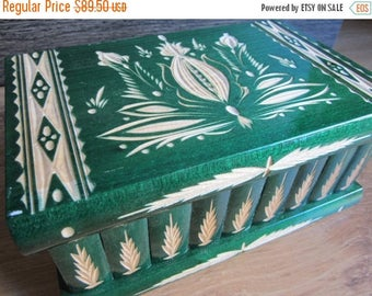 XL Green Carved Puzzle Jewelry Box from Hungary with Secret Compartment, Lock and Key