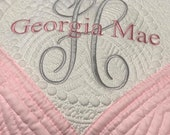 Personalized Baby Quilt -  Embroidery Heirloom Quilt -