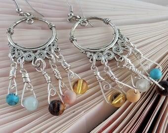 Tribal Hoop Long Earrings, Gypsy Earrings, Tribal Earrings, Chandelier Hoops Earrings, Bohemian Earring, Statement Earrings, Ethnic Earrings