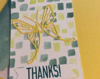 Thank you  handmade greeting card with yellow butterfly Thanks handmade
