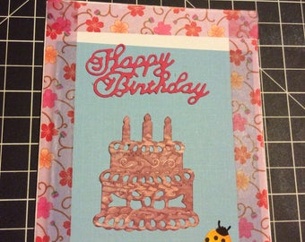 Happy Birthday card, handmade greeting card, birthday cake card, ladybug