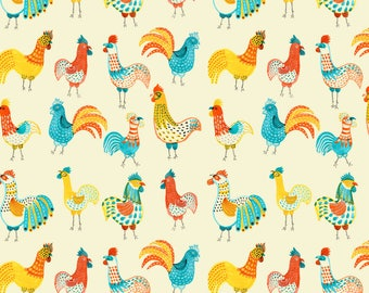 Wrapping Paper Roll, Wrapping Paper Sheets, Chicken Illustrations, Chicken Pattern Wrapping Paper, Watercolor Rooster Illustrations, US made
