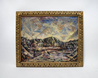 Fractured Cubist Landscape Painting by Dillon Hampden Carrington ca. 1940