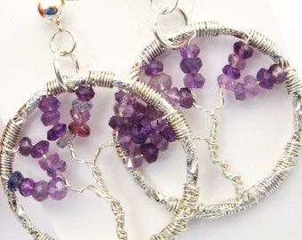 Genuine Amethyst Tree of Life Earrings - Post Earrings, Sterling Silver, Purple