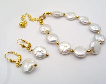 Genuine Pearl Coin Bracelet and Matching Earrings - Ocean Inspired, White, Gold