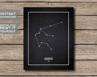 INSTANT DOWNLOAD - Aquarius Constellation Print / Printable Zodiac / Horoscope Constellation Print / Poster / Chalkboard Style-Digital File