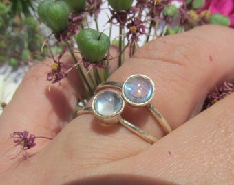 Sale, Simple Beauty, Delicate Rainbow  Moonstone Ring, Size 9.25 US, 925 Silver