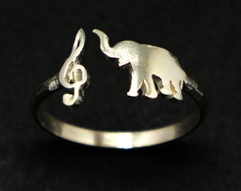 Treble Clef Music and Elephant Ring - Sterling Silver Music Note Elephant Jewelry, Size US 4 - 14, Animal Ring, Woodlands Jewelry