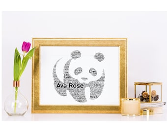 Panda personalised with your own words A4 word art print only