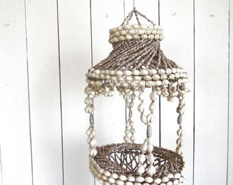 Sea Shell Hanging Pot Holder - Vintage 1980s Beachy Home Decor