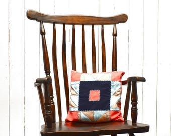 Quilted Patchwork Pillow - 1960s Country Style Home Decor - Vintage Pink Tan Navy Cabin Couch Lap Pillow