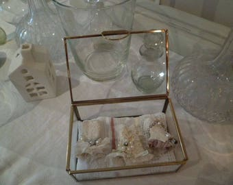 Assemblage Art glass box with miniature  corsets