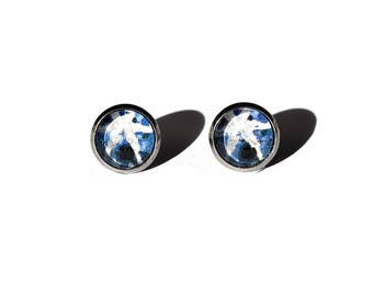 Vintage Star Sapphire Postage Stamp Stud Earrings, Gift for Her, Geology, Stainless Steel Studs, Blue, Favors, Mineralogy, Rock Nerd
