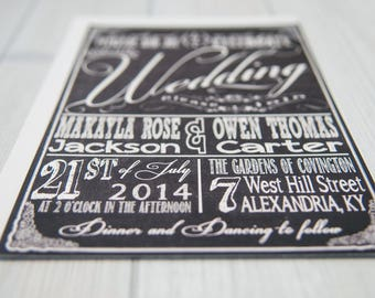 Chalkboard Wedding Invitations with RSVP cards and address labels, Retro Typography, Black and White Budget Invites