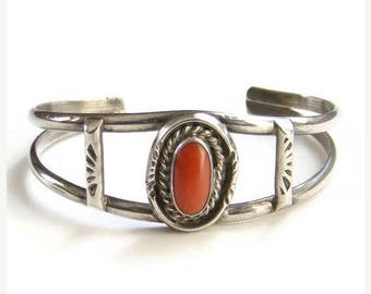 ON SALE Vintage Native American Red Coral Cuff Bracelet Sterling Silver Signed HJ