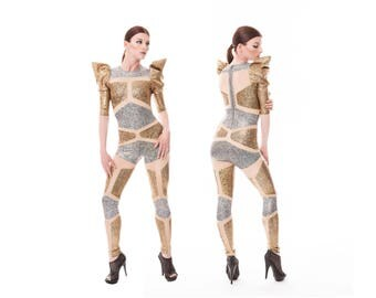 Futuristic Robot Catsuit, Gold & Silver Spandex, Holographic Jumpsuit, Burning Man, Stage Wear, Aerial Silks, Dance Costume,by LENA QUIST