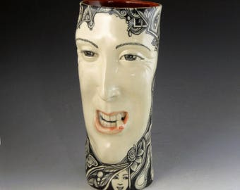 Last smoker hand made vase OOAK smoking man stoneware with intricate underglaze painting face vase