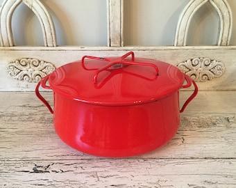 Red Dansk Kobenstyle Pot  - 5 Quarts, Clean