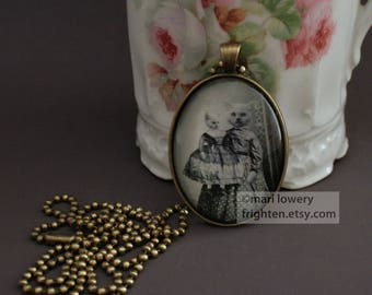 White Persian Cat Pendant Necklace with Long Chain and Box, Victorian Animals in Clothes, Girl with Doll Jewelry, frighten