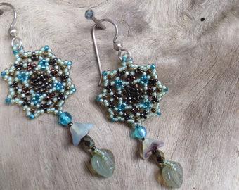 Handmade Artisan Beadwork Earrings - Dreamcatcher - Mandala - Sage