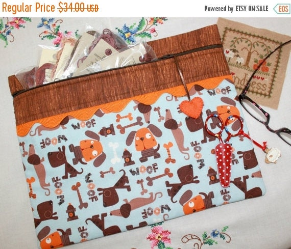 SALE Life Is Woof Dog Cross Stitch, Sewing, Embroidery Project Bag