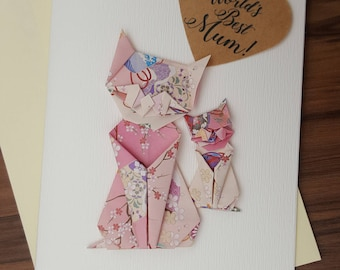 Handmade Birthday card for mum, Mother's Day, Cat lover, handmade greeting card, birthday wishes, origami cat, Cat Greeting Card