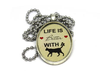 Resin Pendant Necklace *Life is better with cats*