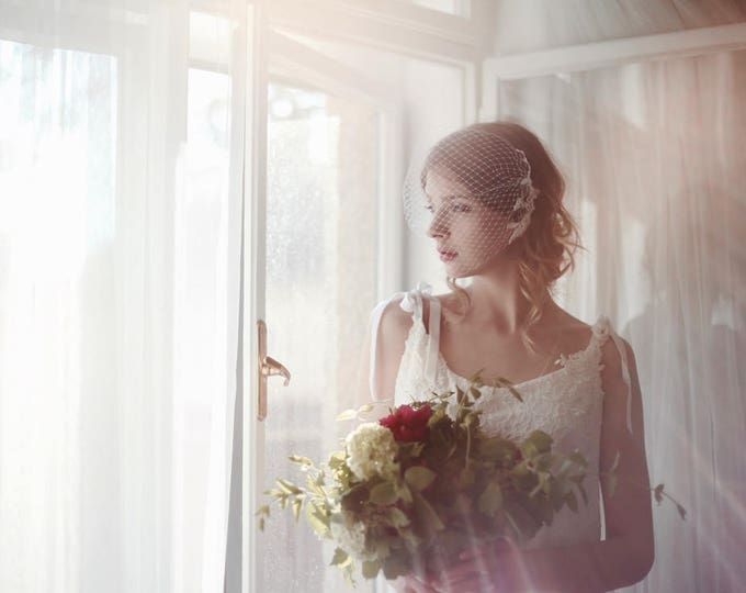 Bridal Birdcage Veil, Lace Bridal Veil, Lace Veil, Lace on Veil, Bandeau Veil, Wedding Veil, Bird Cage Veil