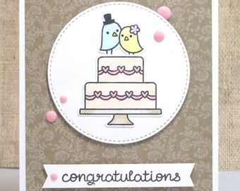 Congratulations Card- Congrats Wedding- Wedding Cards- Wedding Cake- Cute Wedding Card