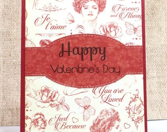 Valentine's Day Card- Happy Valentine's Day- Vintage Valentines- Cards for Her- Girlfriend Card- Wife Valentine