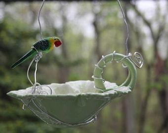 Whimsical Green Leaf Ceramic Bird Feeder